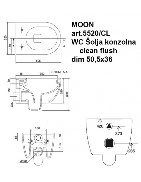 MOON art.5520/CL WC Šolja konzolna CLEAN FLUSH dim 50,5x36