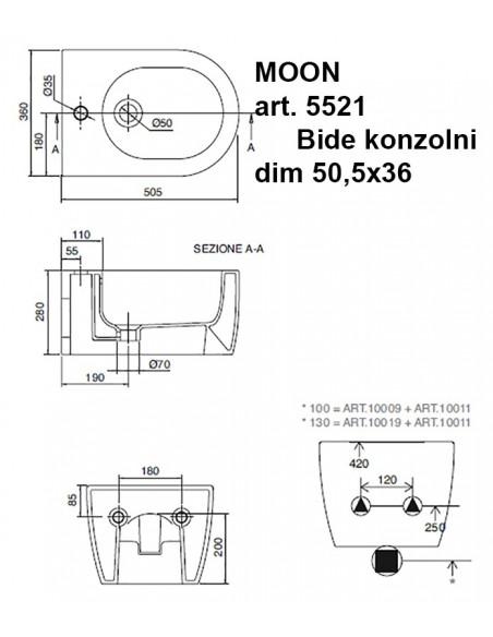MOON art.5521 Bide konzolni dim 50,5x36