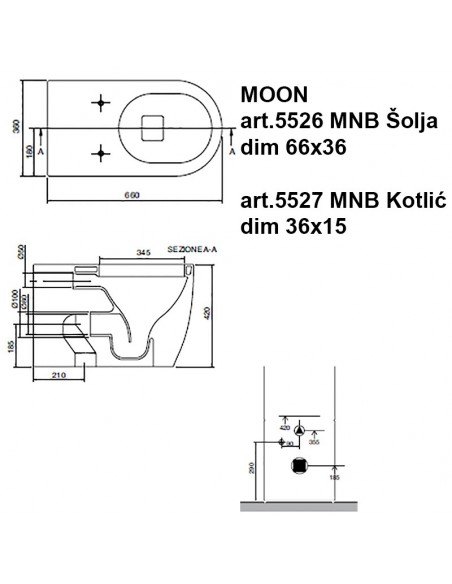 MOON art.5526 MNB šolja dim 66x36x42h i MOON art.5527 MNB Kotlić dim 36x15x44h