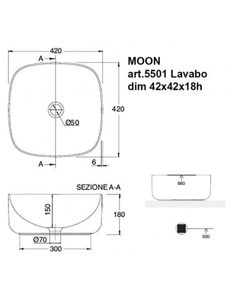 MOON art.5501 Lavabo dim 42x42x18h