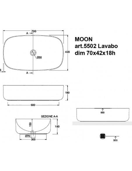MOON art.5502 Lavabo dim 70x42x18h