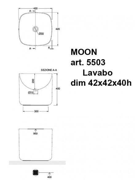 MOON art.5503 Lavabo dim 42x42x40h