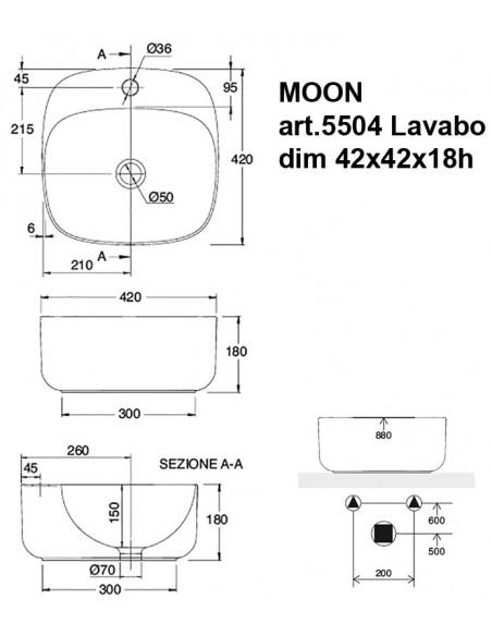 MOON art.5504 Lavabo dim 42x42x18h
