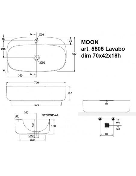 MOON art.5505 Lavabo dim 70x42x18h