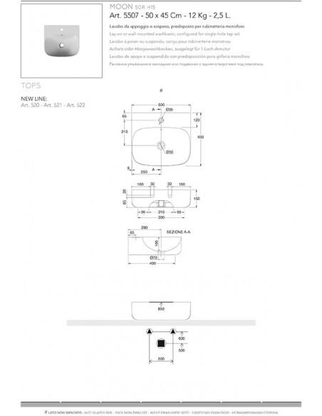 MOON art.5507 Lavabo dim 50x45x15h