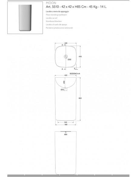 MOON art.5510 VISOKI Lavabo dim 42x42x85h