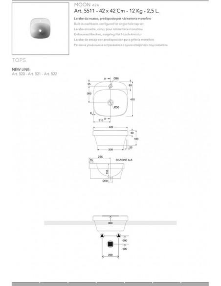 MOON art.5511 Lavabo dim 42x42x6h