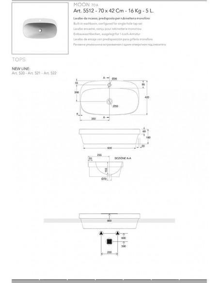 MOON art.5512 Lavabo dim 70x42x6h