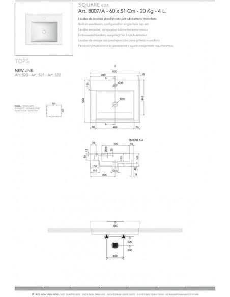SQUARE A art.8007/A Lavabo dim 60x51x8,5h
