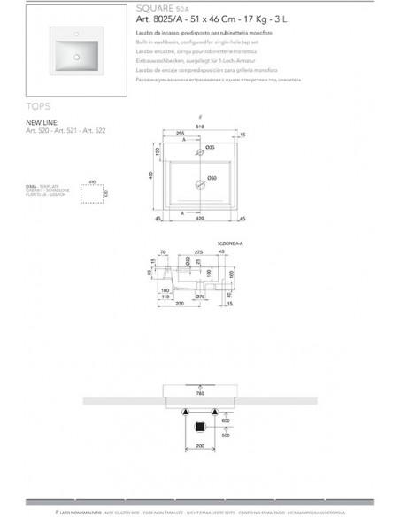 SQUARE A art.8025/A Lavabo dim 60x51x8,5h