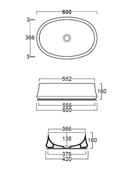 SHARP SH04 Lavabo dim 60/55.2 x 16h