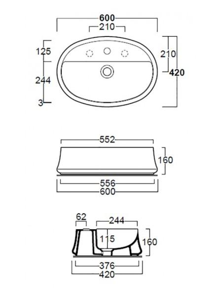 SHARP SH05 Lavabo dim 60/55.2 x 42 x 16h
