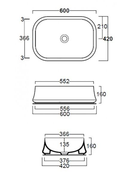 SHARP SH08 Lavabo dim  60/55.2 x 42 x 16h