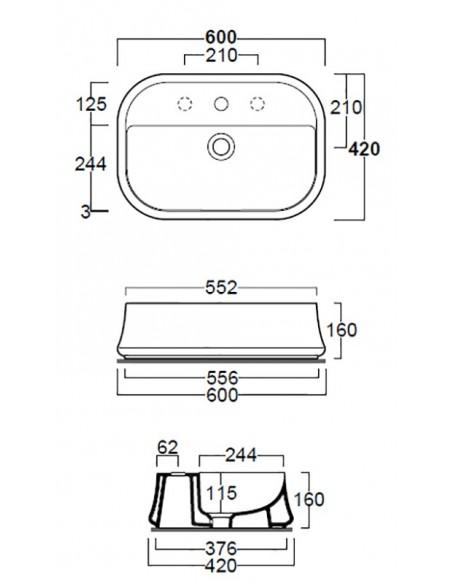 SHARP SH09 Lavabo dim 60/55.2 x 42 x 16h