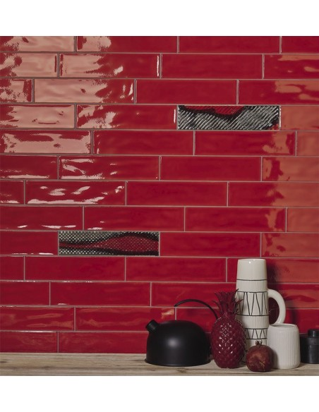 SLASH SLSH 73R Red 7.5x30, SLSH DK 73R 7.5x30  Imola Ceramica