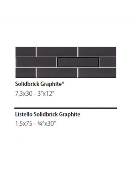 NEWDOT SOLIDBRICK GRAPHITE + LISTELLO 1.5x75 - Sant`Agostino