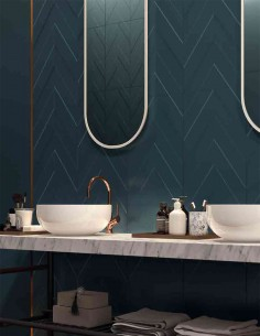 4D CHEVRON Deep Blue , PLAIN Deep Blue dim 40x80, Profil GOLD ROSE dim 2x80 - Marca Corona