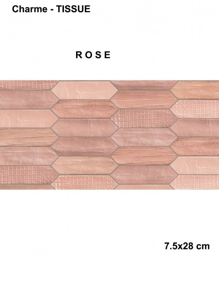 BOTTEGA 225 Charme TISSUE ROSE dim 7.5x28cm - Mirage